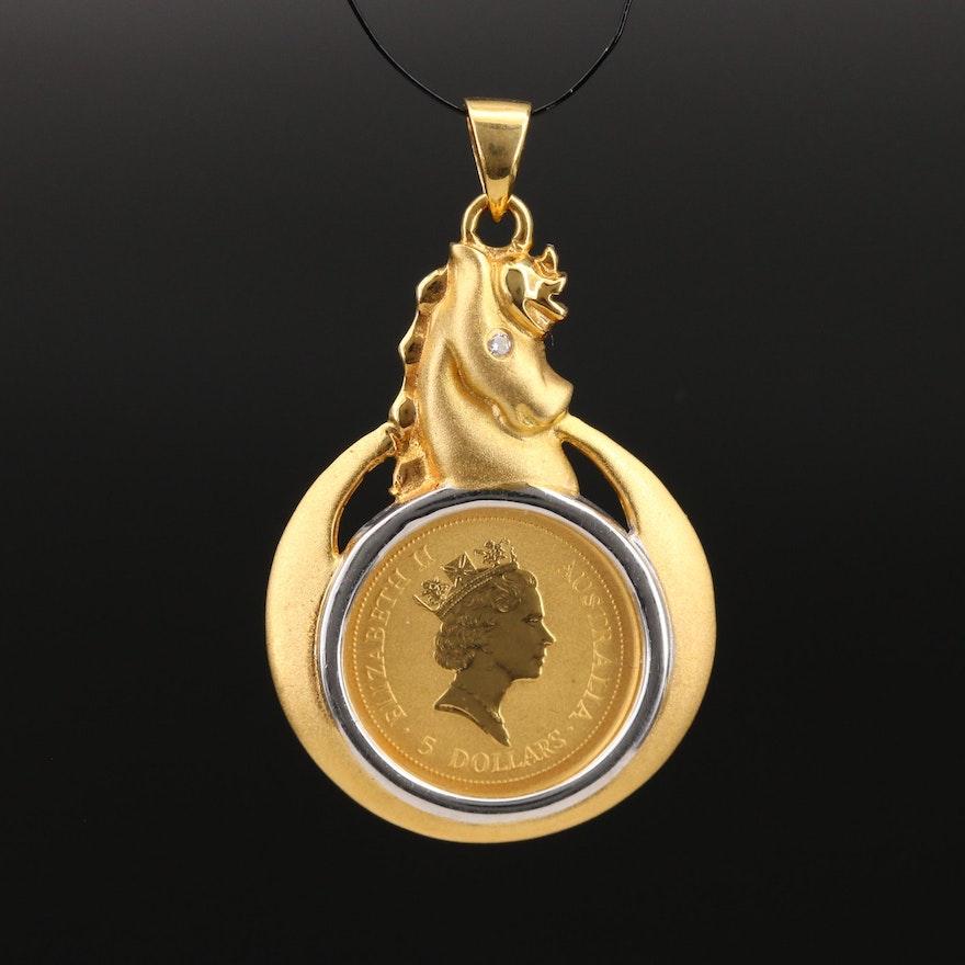 18K Diamond Horse Head Pendant with Australian $5 1/20th oz Gold Coin