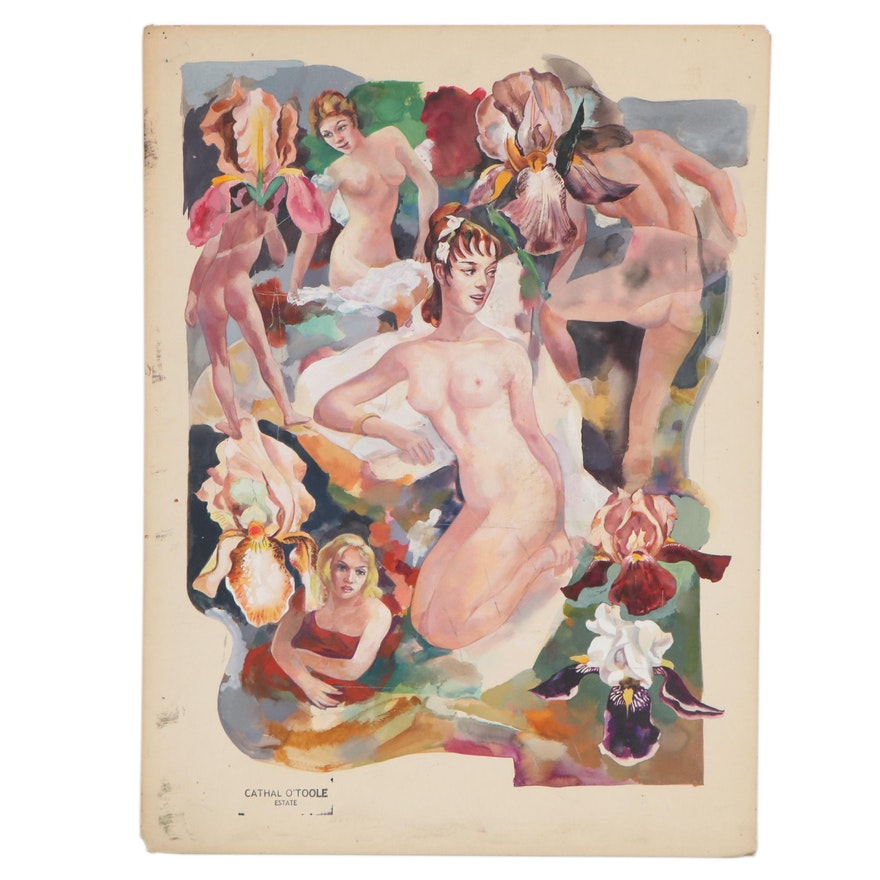 Cathal O'Toole Watercolor and Gouache Painting of Nude Figures Among Flowers