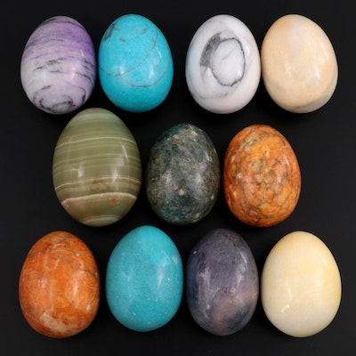 Polished Calcite and Marble Decorative Eggs