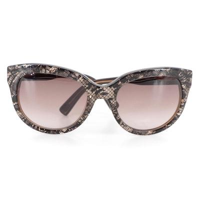 Valentino V666S Modified Cateye Snake Print Sunglasses