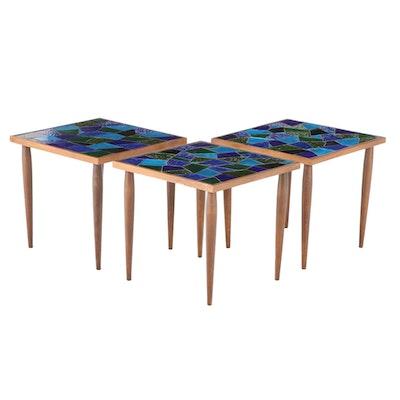 Jon Matin Mosaic Glass Top Walnut Nesting Tables, Mid-20th Century