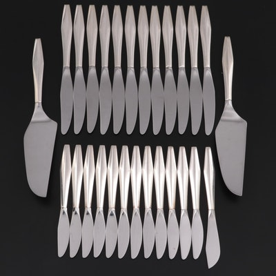 """Reed & Barton """"Diamond"""" Sterling Silver Handled Mirrorstele Knives and Servers"""