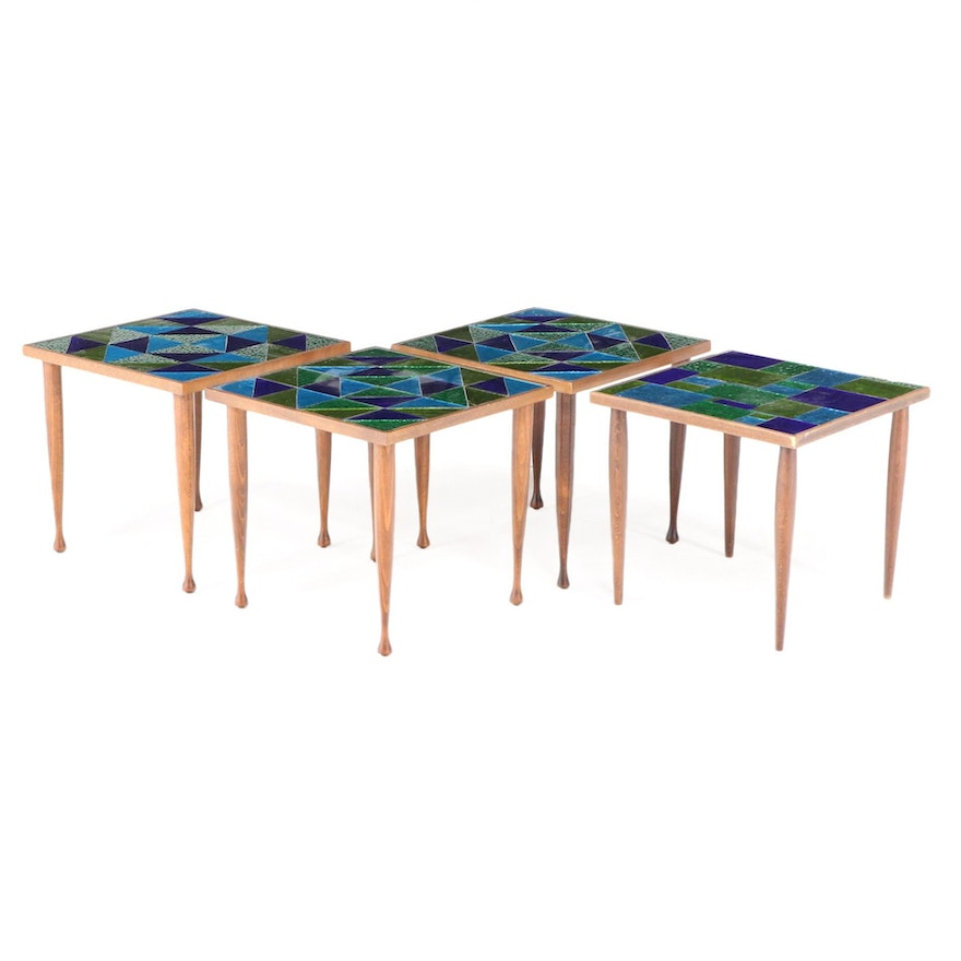Georges Briard and Other Mosaic Glass Top Walnut Stacking Tables, Mid-20th C.
