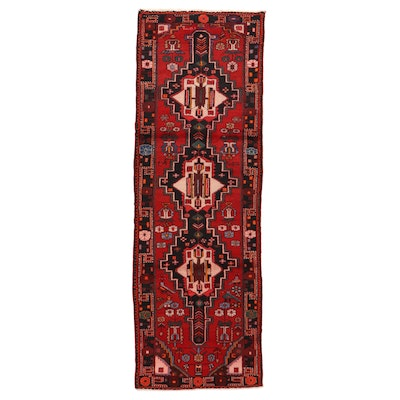3'5 x 10'3 Hand-Knotted Signed Persian Pictorial Long Rug