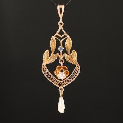 Antique 10K Buttercup Set Diamond, Sapphire and Pearl Lavalier Pendant