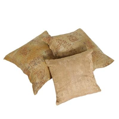 Richard Fischer Collection and Anke Drechsel Gold Tone Silk Pillows