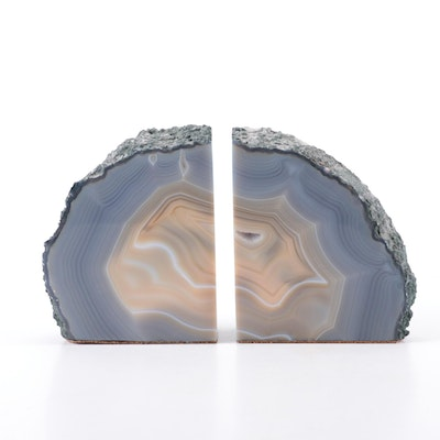 Polished Agate Geode Bookends