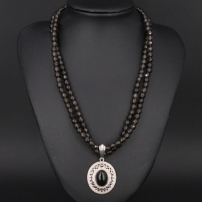 Smoky Quartz Double Strand Necklace with Sterling Pendant