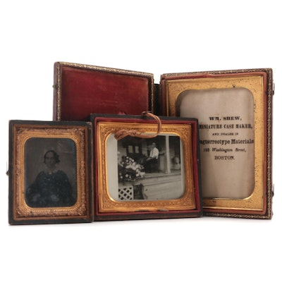 Tin Type Portrait Photograph with Bonded Leather Cases