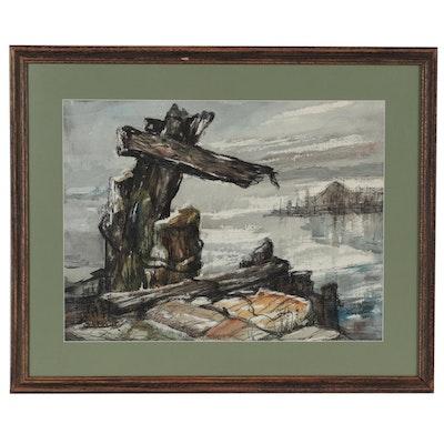 Albert Westelin Watercolor Painting of Dock, 1965