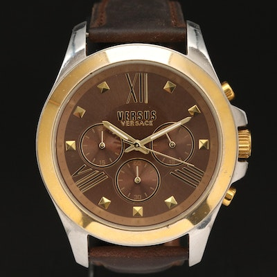 """Two Tone Versace """"Versus"""" Chronograph Stainless Steel Wristwatch"""