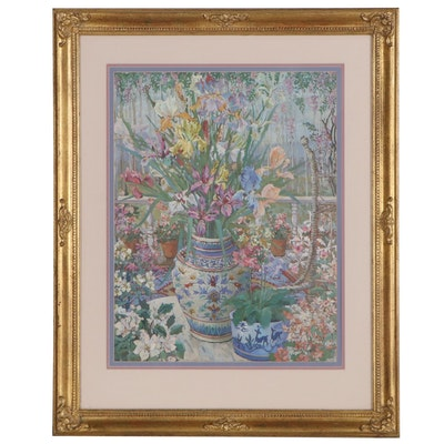 Floral Still Life Offset Lithograph after John Powell, Late 20th Century