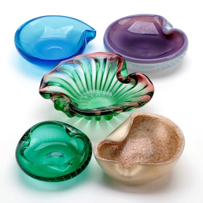 Suspended Bubbles and Other Art Glass Ash Trays, Mid to Late 20th Century