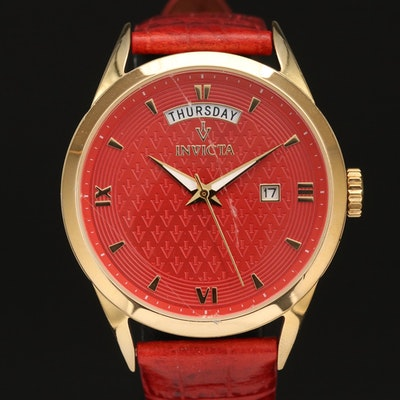 Invicta Red Dial Day/Date Stainless Steel Wristwatch
