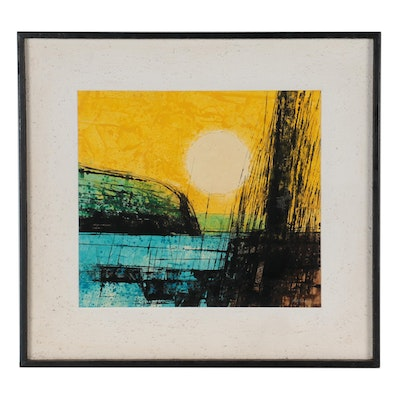 Pat Bowers Abstract Mixed Media Painting, Late 20th Century