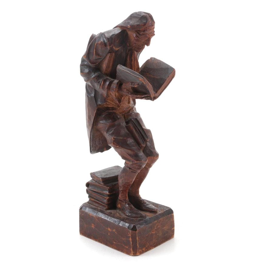 Franz Luschtinetz Hand-Carved Wooden Sculpture of Man Reading