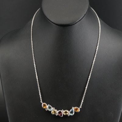 Sterling Citrine, Topaz and Garnet Stationary Pendant Necklace