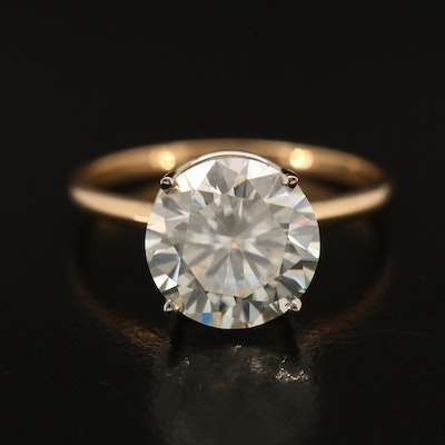 18K Moissanite Ring with White Gold Head