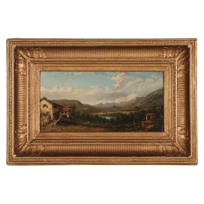 Continental Landscape Oil Painting of Mountain Valley, Mid-19th Century