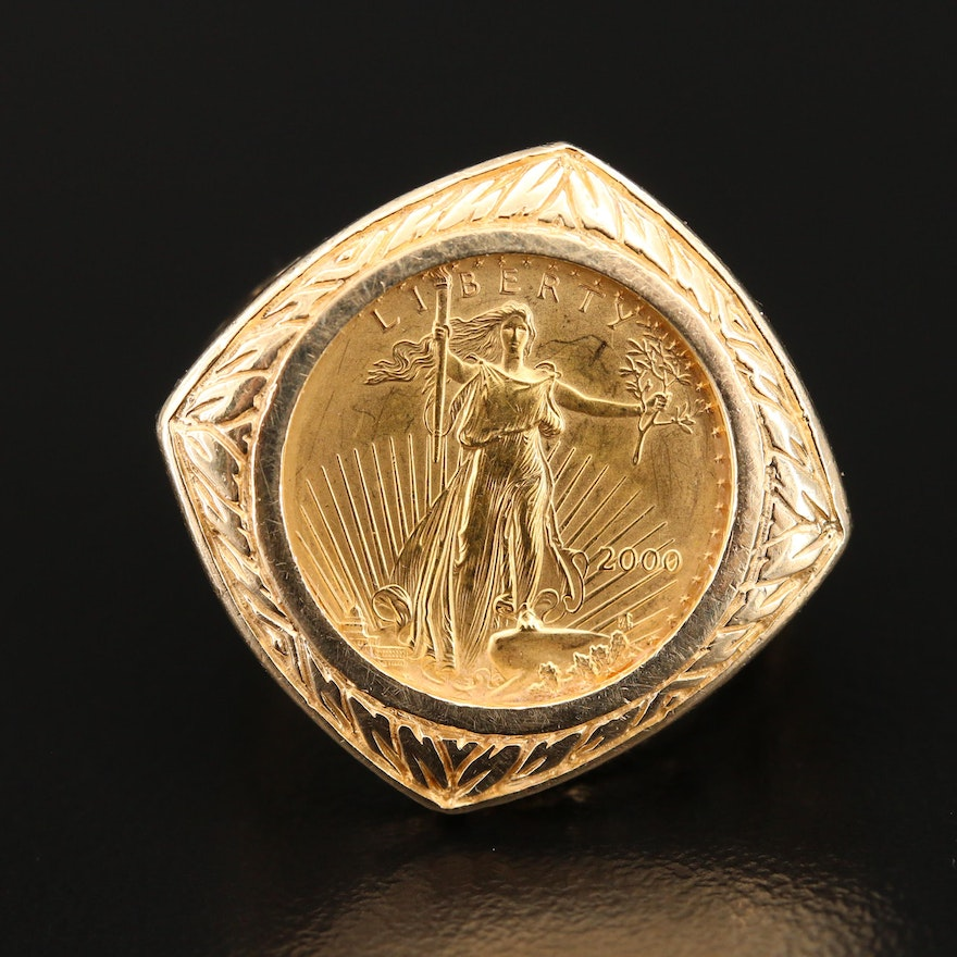 Art Nouveau Style 14K Openwork Ring Holding $5 Gold Eagle Coin