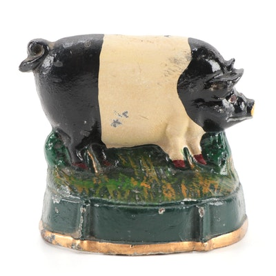 Cold Painted Cast Iron Pig Door Stop
