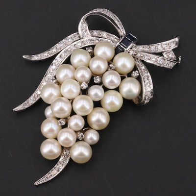 1950s 10K Pearl, 1.23 CTW Diamond and Sapphire Grape Cluster Brooch
