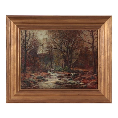 William LaValley Oil Painting of Autumn Landscape, Mid-20th Century