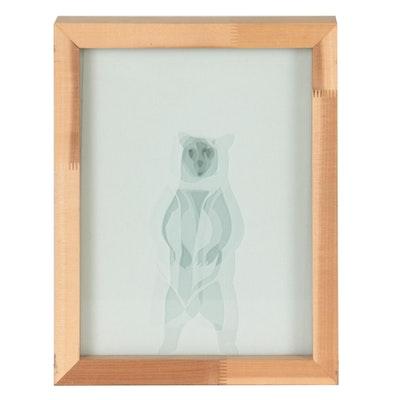Parchment Paper Cutouts in Glass, 21st Century