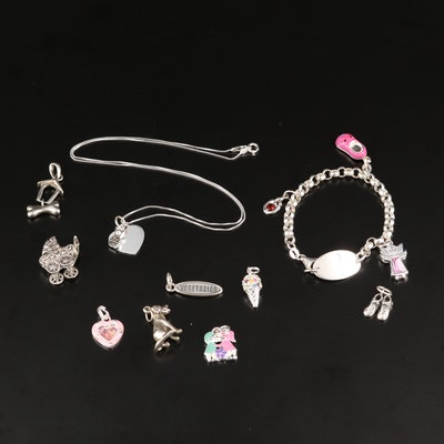 Sterling Grouping Including ID Charm Bracelet, Cat, Heart, Baby Charm Pendants