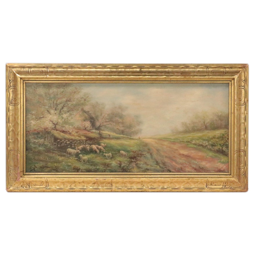 Pastoral Landscape Oil Painting with Grazing Sheep, Early 20th Century