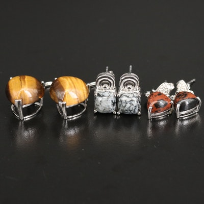 Sterling Drop and Stud Earrings with Tiger's Eye and Snowflake Obsidian
