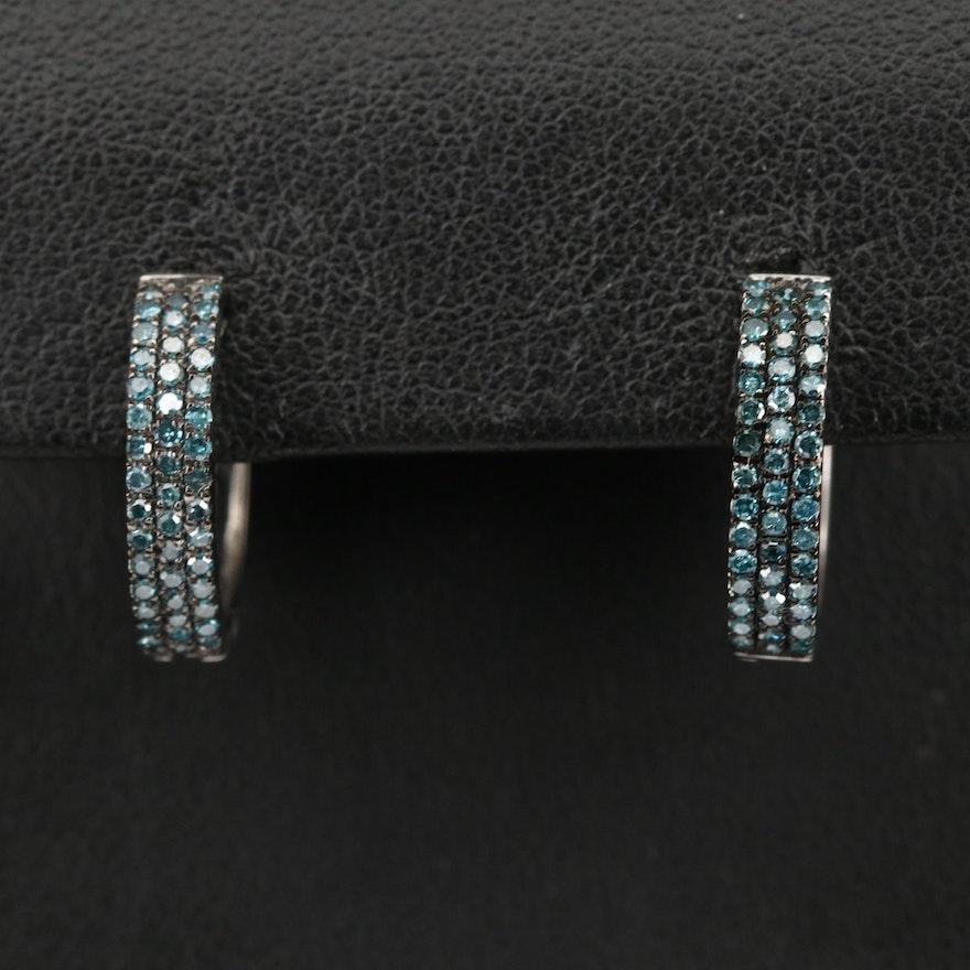 Sterling Silver Diamond Huggie Hoop Earrings