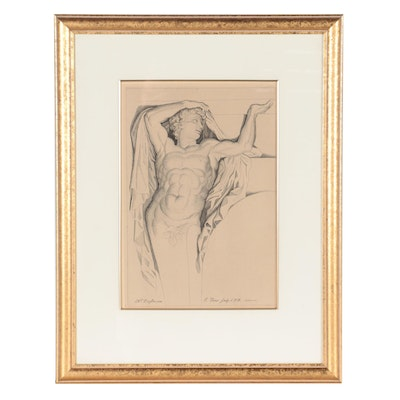 Engraving After Jean Pesne of Classical Nude Figure, Mid-20th Century