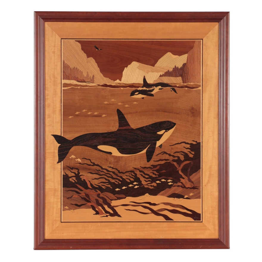 "Jeff Nelson Wood Inlay ""Orcas,"" Circa 2000"