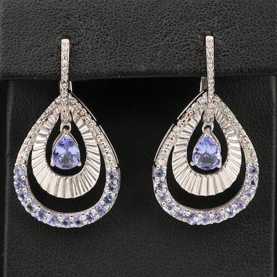 Sterling Silver Tanzanite and Diamond Teardrop Earrings