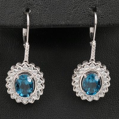Sterling Silver Topaz and Zircon Drop Earrings