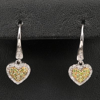 Sterling Silver Diamond Heart Drop Earrings