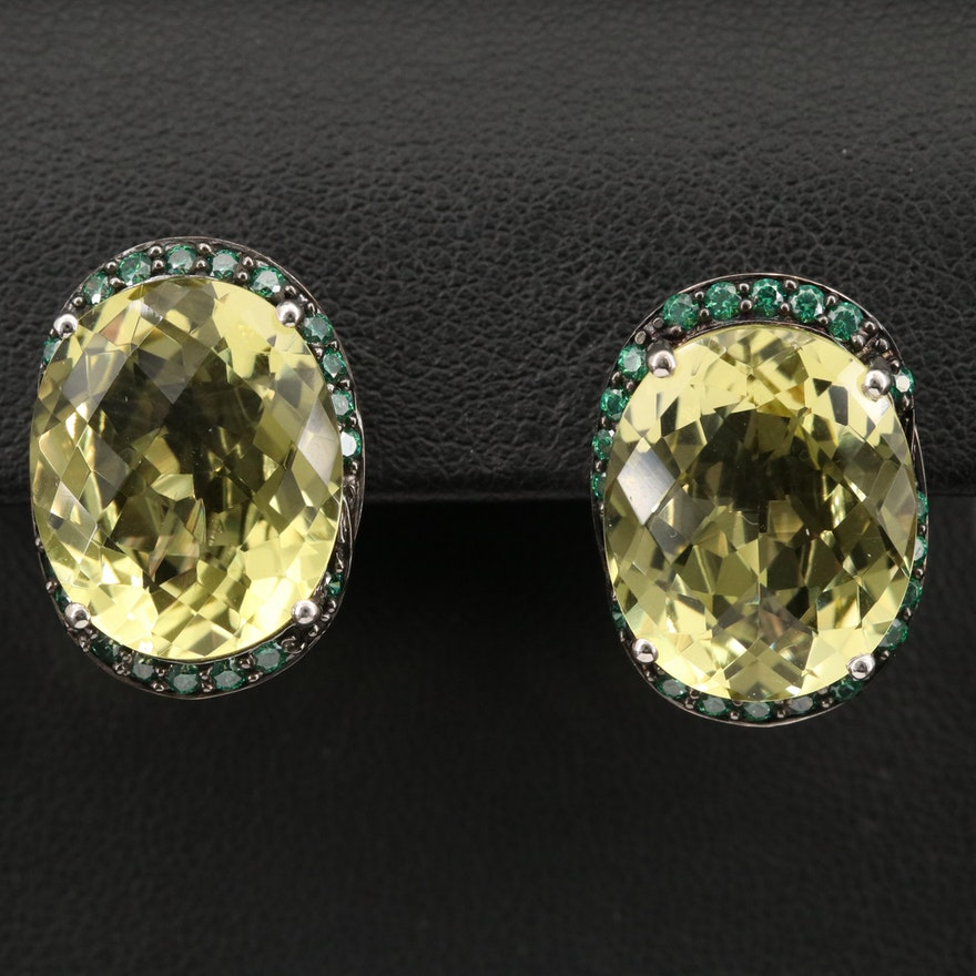 Sterling Silver Citrine and Cubic Zirconia Earrings