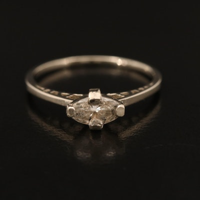 14K 0.40 CT Diamond East-West Solitaire Ring