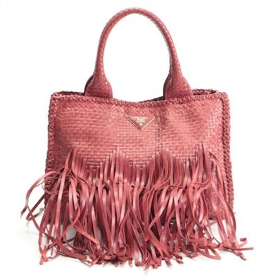 Prada Fringe Two-Way Satchel in Red Intecciato Leather