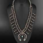 Southwestern Sterling Silver Squash Blossom Necklace with Turquoise Naja Pendant