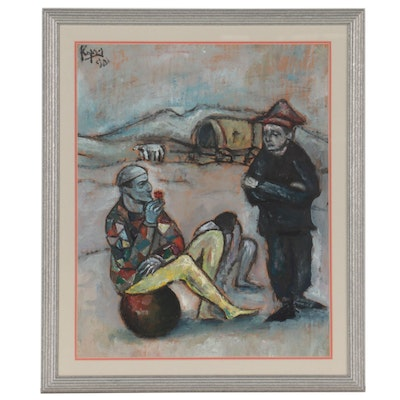 Oil Painting of Harlequins, Mid-20th Century
