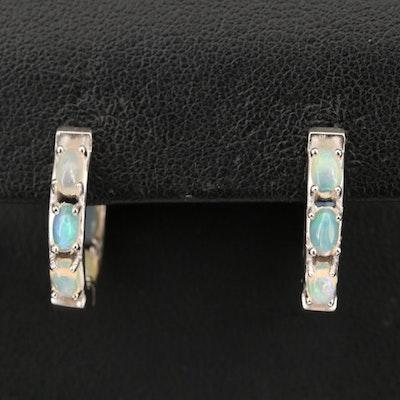 Sterling Opal Inside Out Hoop Earrings