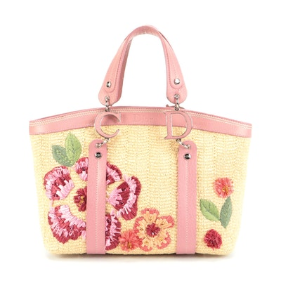 Christian Dior Limited Edition Straw Tote with Pink Leather Trim