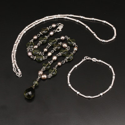 Pearl and Glass Necklace with Sterling Clasp and Necklace and Bracelet Set