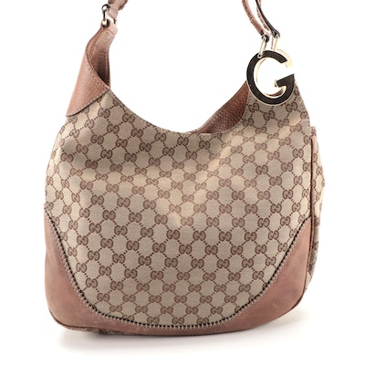 Gucci Charlotte GG Canvas and Light Brown Leather Hobo Bag