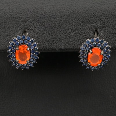 Sterling Fire Opal and Sapphire Double Halo Earrings
