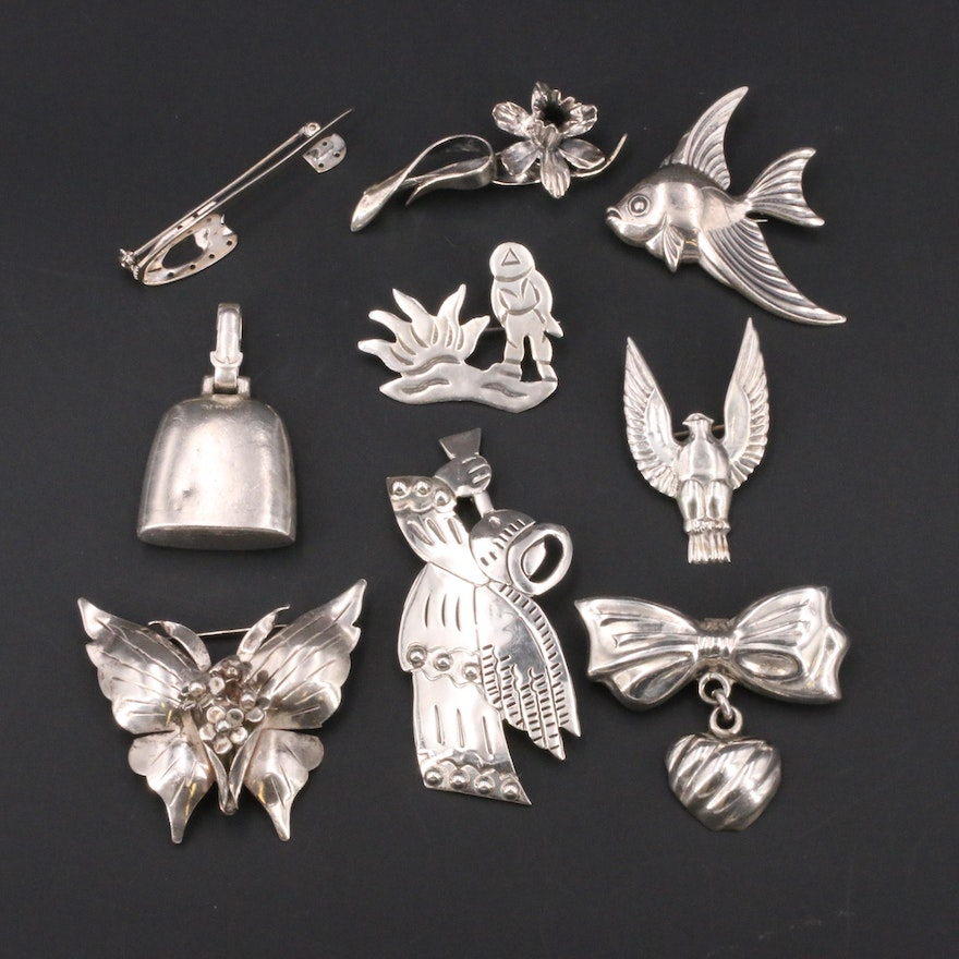 Vintage Sterling Brooches and Bell Pendant with Angel and Flower Brooches