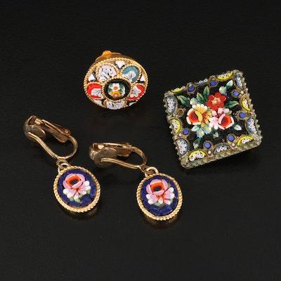 Antique Italian Micromosaic Brooch with Vintage Micromosaic Earrings