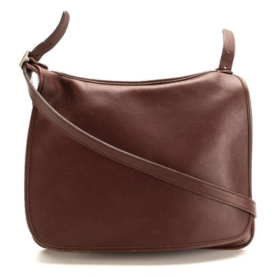 Coach Hippe Flap Crossbody Bag in Smooth Brown Leather